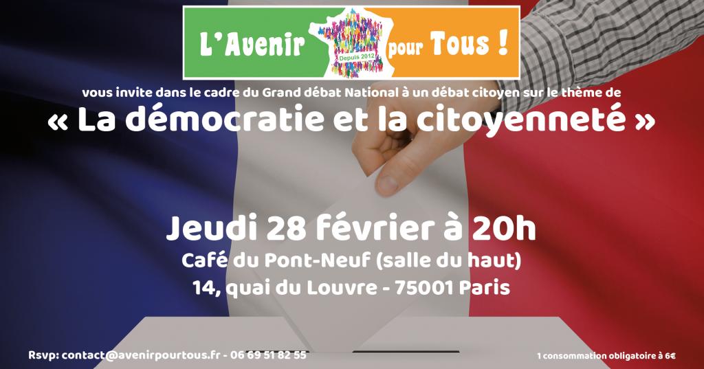 """Débat sur le thème de """"La démocratie et la citoyenneté"""" @ Café du Pont Neuf"""