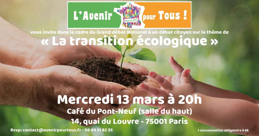 """Débat sur le thème de la """"Transition écologique"""" @ Café du Pont Neuf"""