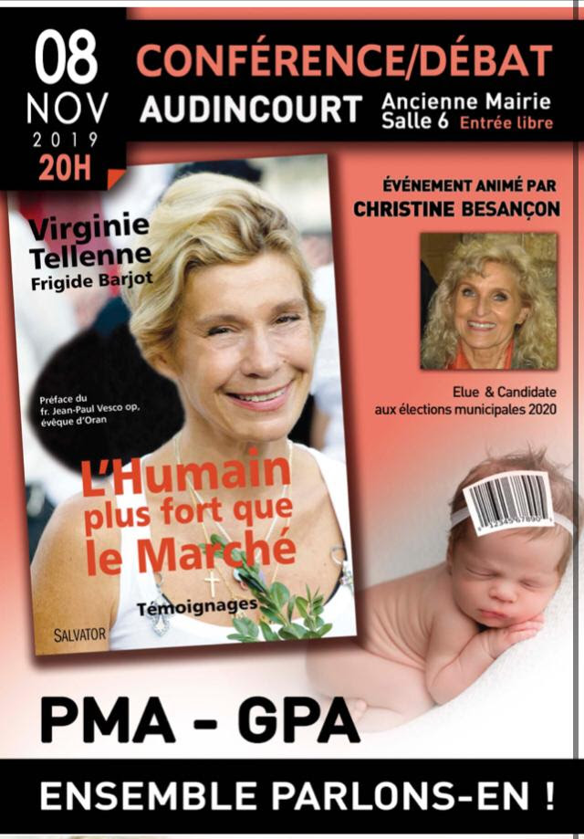 6/11/2019 – Vendredi 8 novembre 2019, conférence-débat à Audincourt sur les PMA-GPA